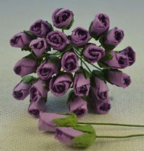 6mm LILAC VIOLET ROSE BUDS (L) Mulberry Paper Flowers